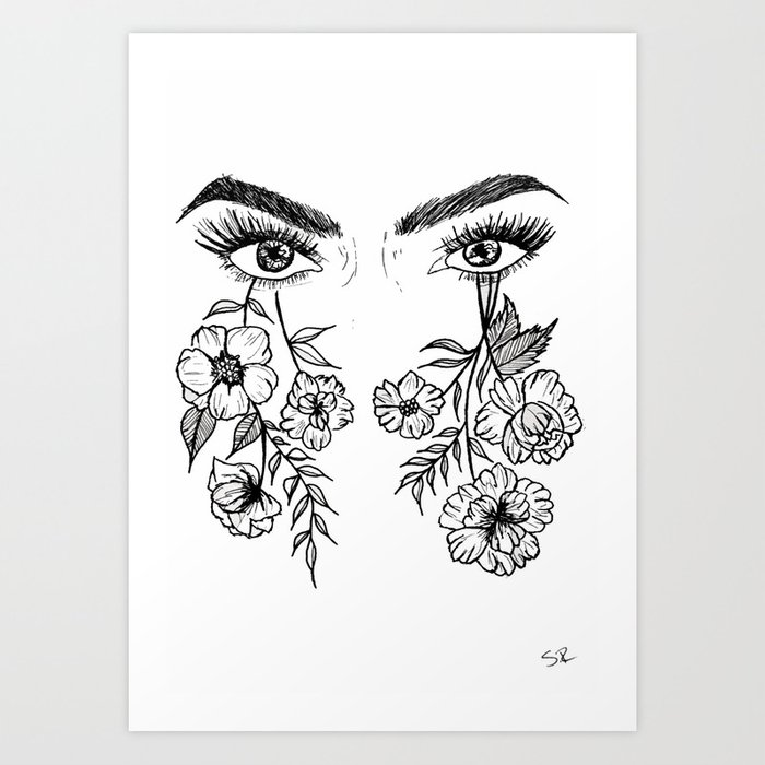 Flower Eyes Art Print By Obscureminds