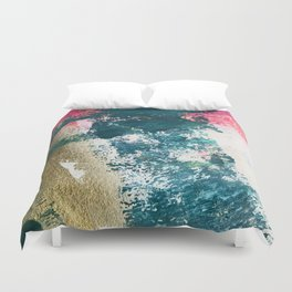 Curious [1]: a vibrant, minimal abstract mixed-media piece in teal, pink, white and gold Duvet Cover