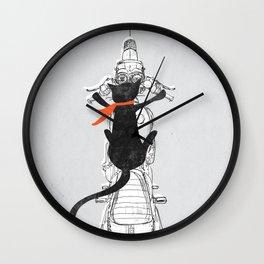 Cat Racer Motorcycle Art Print Wall Clock
