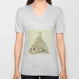 Vintage Christmas Tree Unisex V-Neck