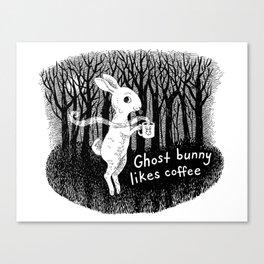 Ghost bunny likes coffee Canvas Print