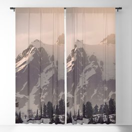 Pink Mountain Morning - Nature Photography Blackout Curtain