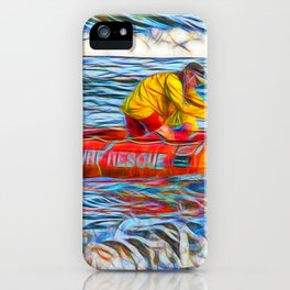 Abstract Surf rescue boat in action iPhone Case