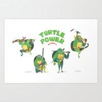 ninja turtle Art Prints featuring Ninja Turtles Turtle Power by MrMaars
