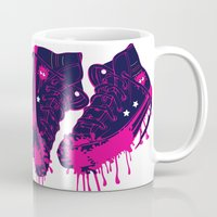 sneakers Mugs featuring Love my dirty sneakers by Cindys