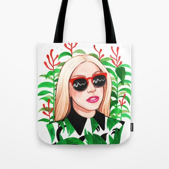 Lady and Photinia Tote Bag