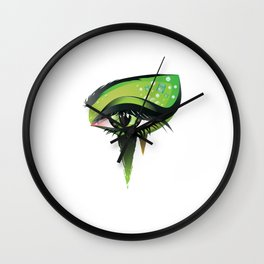 Green vampire eye makeup Wall Clock