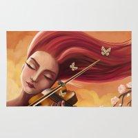 violin Area & Throw Rugs featuring Violin by Negin Armon