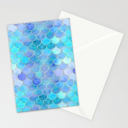 Aqua Pearlescent & Gold Mermaid Scale Pattern Stationery Cards