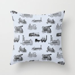 Antique Steam Engines // Steel Grey Throw Pillow