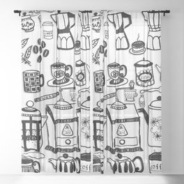 Coffee Doodles Sheer Curtain