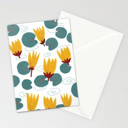 Yellow Waterlilies Lotus Pattern Illustration Stationery Cards