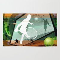 tennis Area & Throw Rugs featuring Tennis by Robin Curtiss