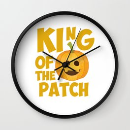 King of the Patch Pumpkin Halloween Graphic T-Shirt Wall Clock