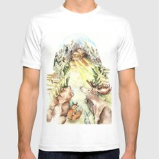 Woodland Creatures MEDIUM Mens Fitted Tee White