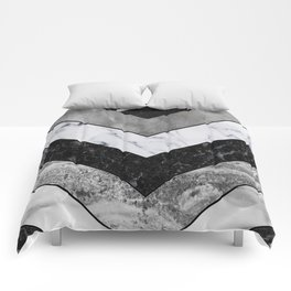 Shimmering mirage - grey marble chevron Comforters
