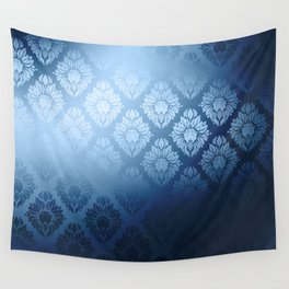 """Navy blue Damask Pattern"" Wall Tapestry"