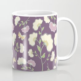 Fanned Flowers with Butterflies, grape Coffee Mug