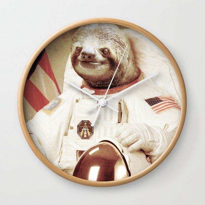 Sloth Astronaut Wall Clock