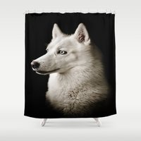 zelda Shower Curtains featuring Zelda by Paw Prints By Jamie