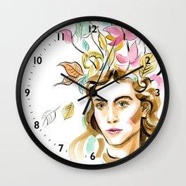 autumn girl Wall Clock