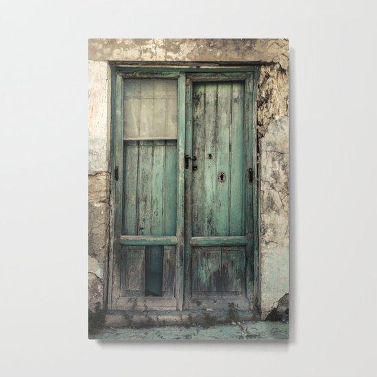 Old Green Door Metal Print