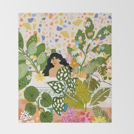Bathing with Plants Throw Blanket