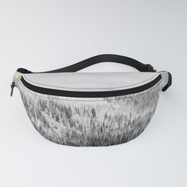pine forest black white wooded area nature landscape print Fanny Pack