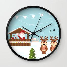 Christmas market cartoon illustration with Santa Claus behind the stand Wall Clock