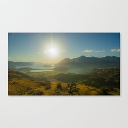 lake wanaka covered in blue colors new zealand beauties and mountains at sunrise person Canvas Print
