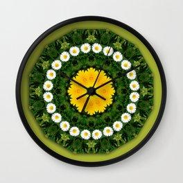 Daisies, Nature Flower Mandala, Floral mandala-style Wall Clock
