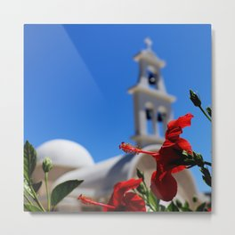 Red hibiscus in front of a greek orthodox church Metal Print