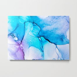 Abstract Alcohol Ink Painting -  Unicorn at Night Metal Print