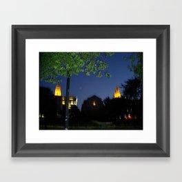 Boston University: Marsh Plaza at Night Framed Art Print