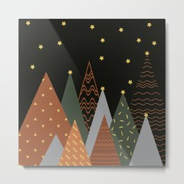 Minimalist Scandinavian Design Abstract Concept Forest and Starry Sky Brown Grey Neutral Metal Print