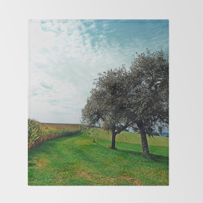Cornfields, trees and lots of clouds | landscape photography Throw Blanket