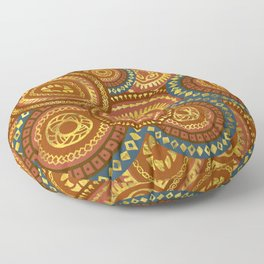 Circular Ethnic  pattern pastel gold and brown, teal Floor Pillow