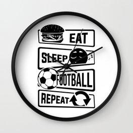 Eat Sleep Football Repeat - Soccer Wall Clock