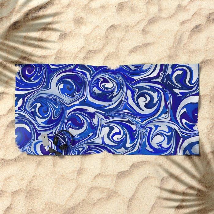 China Blue Paint Swirls Beach Towel