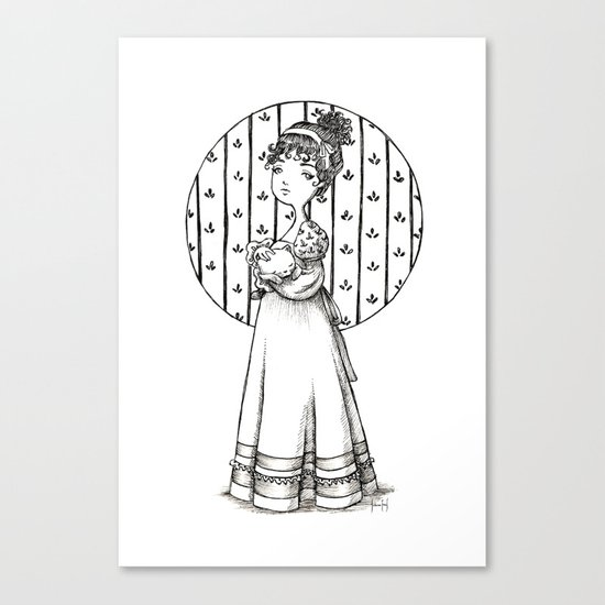 Lady and Cat Canvas Print