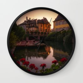 France Colmar Canal Begonia Pier Evening Houses Cities Berth Marinas Building Wall Clock