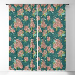 Moody Florals in Teal Blackout Curtain