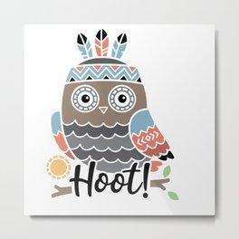 Hoot Boho Owl shirt Metal Print