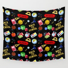 Watercolor Back to School Elements Theme Pattern Wall Tapestry