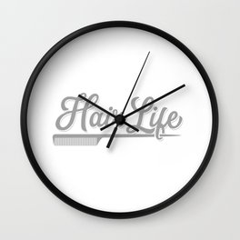 Womens Hairdresser Gift Salon Hairstylist Hair Life Print Wall Clock