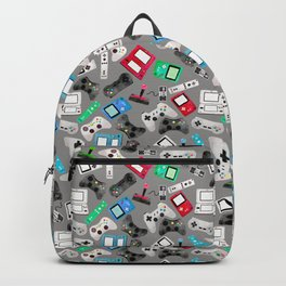 Watercolor Gaming Video Game Devices Pattern Gray Backpack