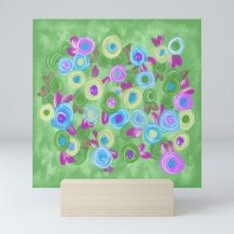 Rose Garden cottage roses green blue lavender painting Mini Art Print