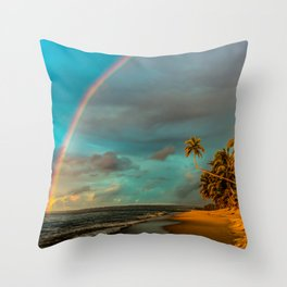 Rainbow Palm Tree Rincon Puerto Rico Throw Pillow