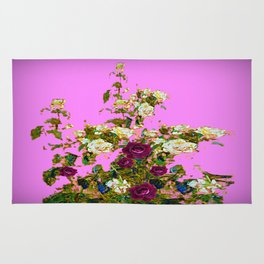 lilac PURPLE whiteb ROSESpurple ROES garden Rug
