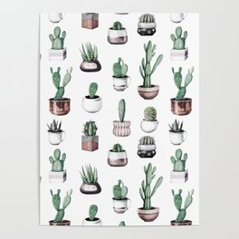 Cactus + Succulents Rose Gold Pattern by Nature Magick Poster